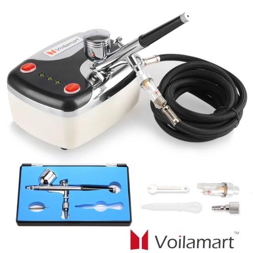 Voilamart Air Brush Compressor Dual Action Spray Gun Airbrush Kit 0.3mm Needle Art Set