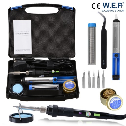 WEP 60W Electric Soldering Iron Kit Solder Welding Rework Tool Stand 6 Tips Safe