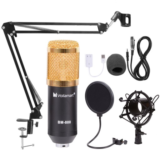 USB Condenser Microphone Kit Studio Audio Broadcast Sound Recording Tripod Stand
