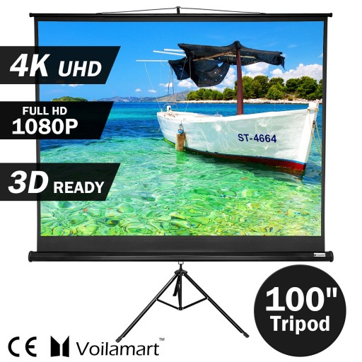 "Voilamart 100"" Projector Screen Tripod Stand TV HD Conference Presentation Projection 4:3"