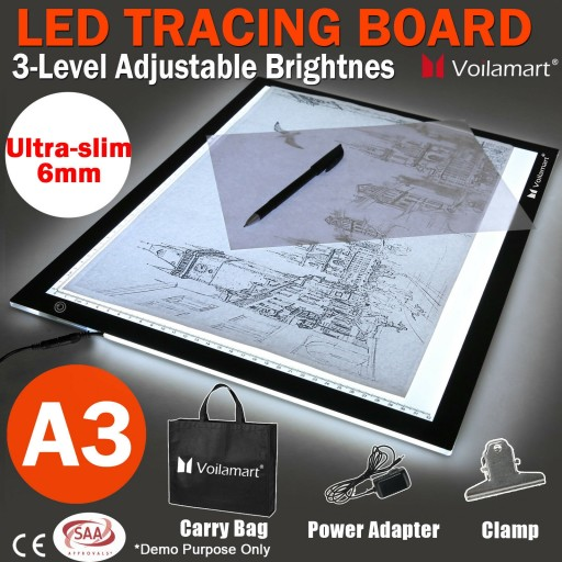 Voilamart A3 LED Light Box Tracing Board Art Design Stencil Drawing Thin Pad Copy Lightbox
