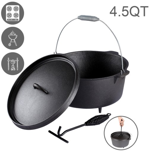 Dutch Oven 4.5 QUART Cast Iron Camp Pot Outdoor Camping Cookware Portable Pan