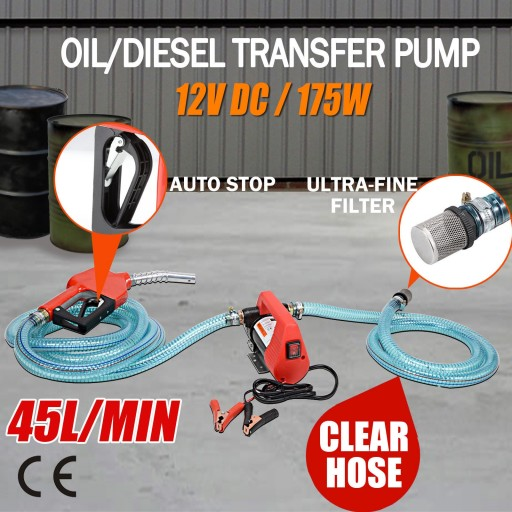 Voilamart 12V Portable Bowser Electric Oil Transfer Pump 45L/min Bio Diesel Oil Fuel Auto