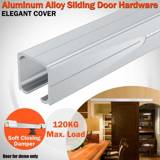 Voilamart Sliding Barn Door Hardware 2m Aluminum Alloy Track Set Interior Closet Modern