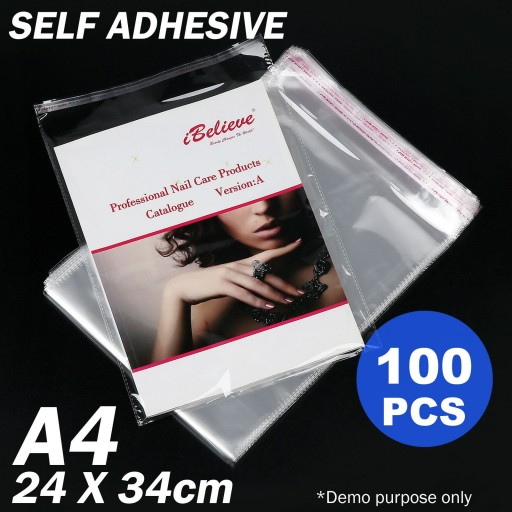 Voilamart 100pcs A3 Cello Bags Cellophane Plastic Self Adhesive Resealable Clear 340 x 240mm