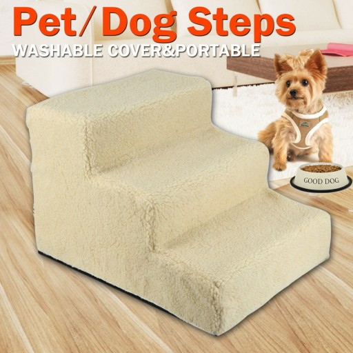 Voilamart Pet Cat Dog Doggy 3 Steps Stairs 30cm Portable Ramp Soft Washable Cover