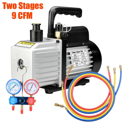 9CFM Dual Stages 1HP Vacuum Pump Refrigeration Manifold Gauges Tool Set New