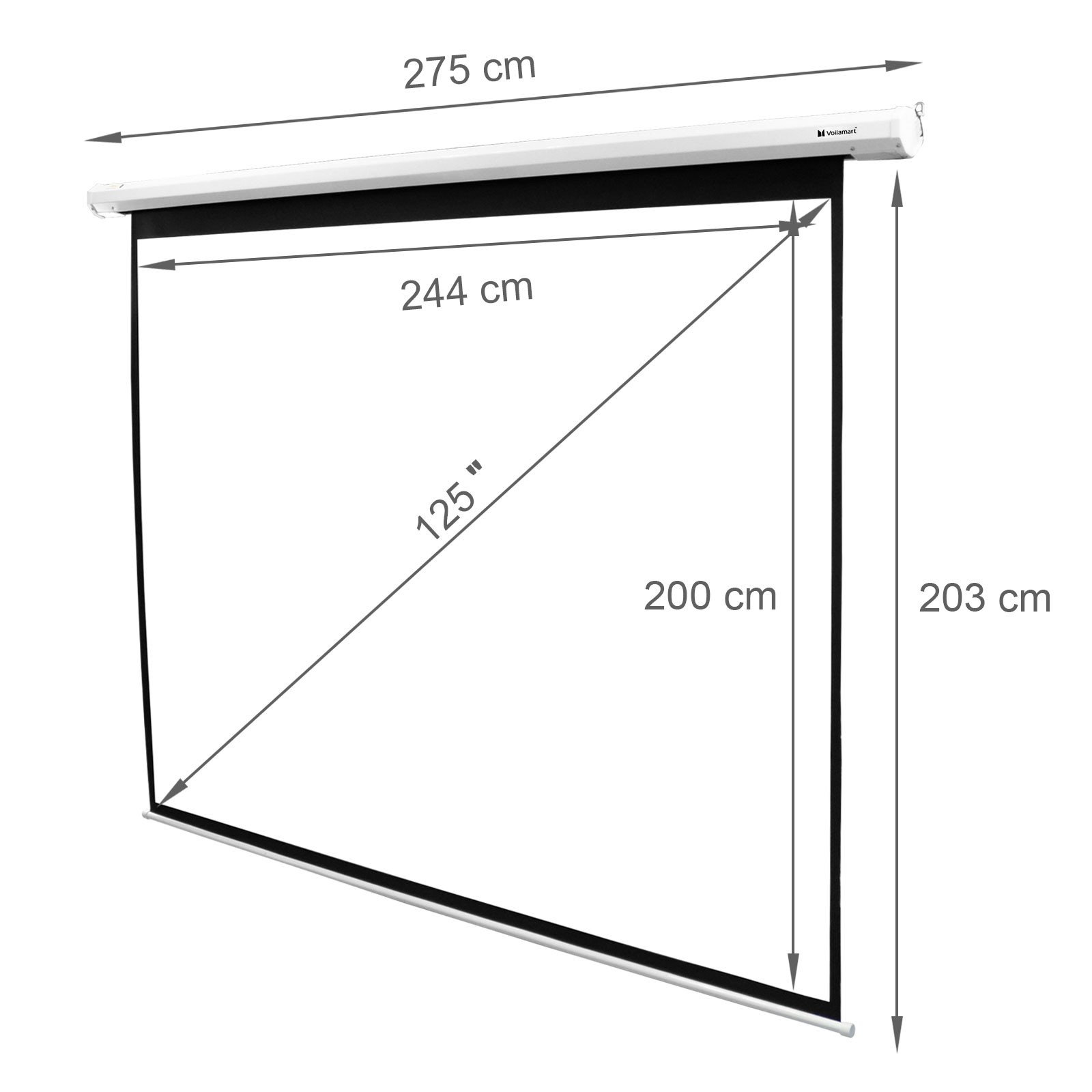Voilamart 125 Quot Inch Electric Motorised Projector Screen 3d