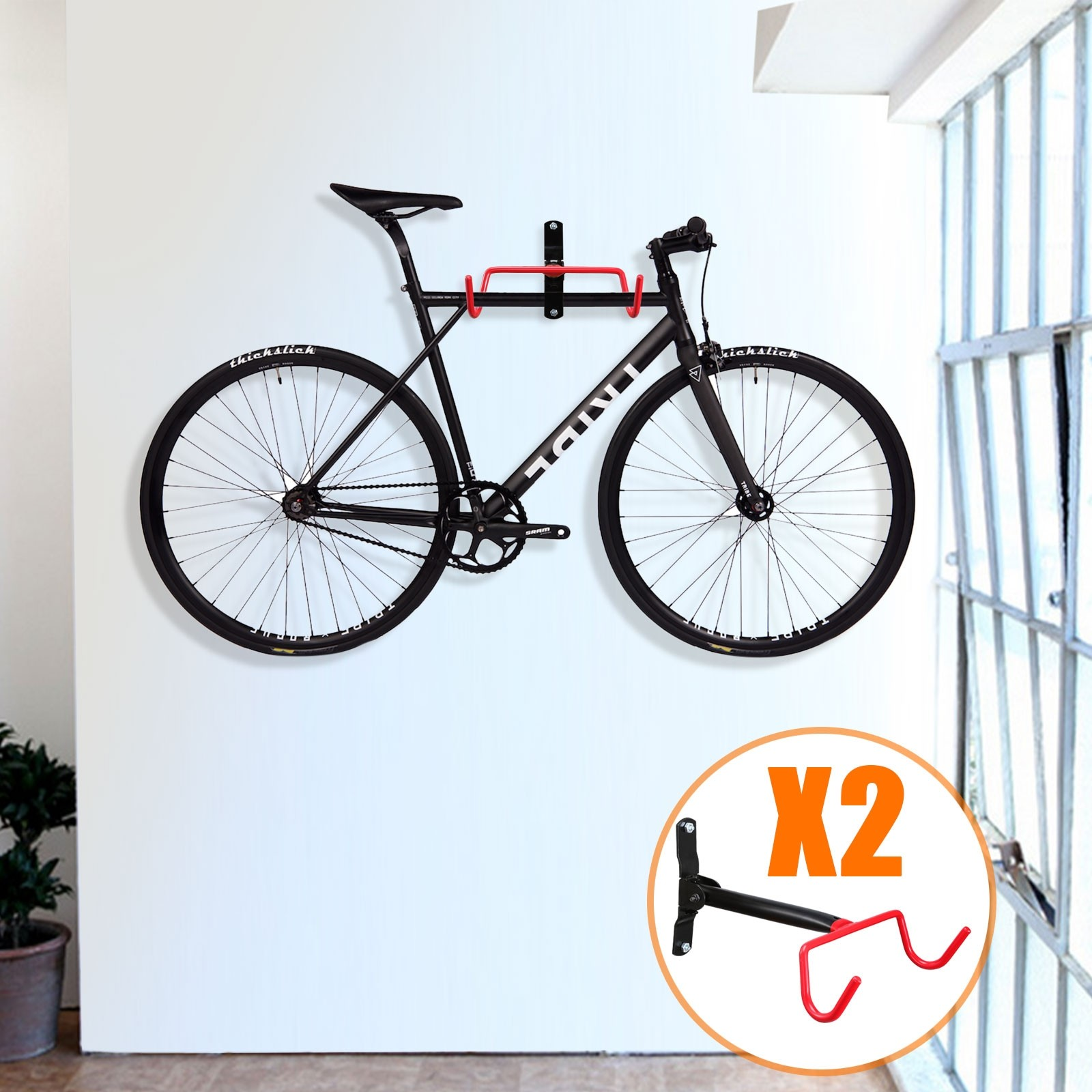 Wall Mount Hook 2pc Bicycle Bike