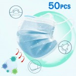 50Pcs 3 Ply Disposable Face Mask Earloop