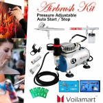 1/6HP Voilamart Air Brush Compressor 2 Airbrush Spray Guns Stencils Hose Art Kit
