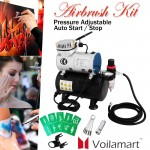 Voilamart Air Compressor 1/6 hp Airbrush Stencils Hose Kit with Tank for Make up Art Paint