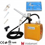 Voilamart Air Brush Mini Compressor Spray Airbrush Gun Kit for Cake Nail Art Make Up Set