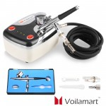Voilamart Air Brush Compressor Dual Action Spray Gun Airbrush Kit 0.3mm Needle Art Set