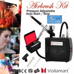 Voilamart Air Brush Compressor Spray Gun Kit 0.3mm Needle Carry Bag Airbrush Craft Set