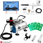 Voilamart 7cc&22cc Airbrush Dual Action Air Brush Gun Compressor Hose Spray Nail Art Kit