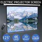 "Voilamart 125"" Inch Electric Motorised Projector Screen 3D HD Projection Home Cinema Office"