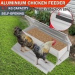 "Voilamart 4.7KG Automatic Chicken Chook Poultry Feeder, Aluminum Auto Treadle Self Opening, Container Size 21""L x 7""W x 3.35""H"