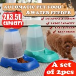 Voilamart 2x 3.5L Automatic Pet Feeder Dog Cat Food Water Self Feeding Bowl Dispenser