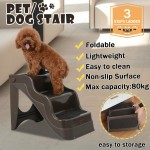Voilamart 3 Steps Pet Ladder Foldable Cat Doggy Plastic Washable Dog Stairs Ramp Portable