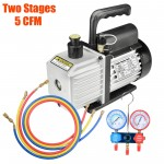 5CFM 2 Stages Vacuum Pump Manifold Gauges Air Condition Tool Refrigerantion