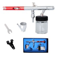 Voilamart Dual Action Airbrush Kit 0.35mm Air Brush Spray Gun Tattoo Art 22cc Ink Cups