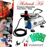 Voilamart Air Compressor 1/6 hp Airbrush Holder Filter Stencil Hose Kit for Make up Art Paint