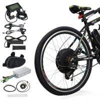 "Voilamart 26"" Rear Wheel Electric Bicycle Conversion Kit, 48V 1000W E-bike Motor Kit with LCD Display, Intelligent Controller and PAS System, 250W Power Limited for Road Bike"