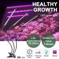 60 LED 3 Head Grow Light Hydroponic Garden Plant Desk 360° Flexible Clip Lamp30W