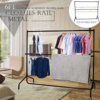 Voilamart 6FT Metal Clothes Rail Stand Heavy Duty Rack Garment Portable Double Rolling