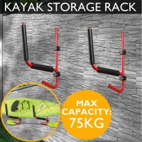 Voilamart 2 pcs Foldable Kayak Storage Racks Carrier Canoe Paddle Surfboard Holder Wall Bracket