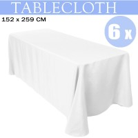 Voilamart 6pcs Tablecloths 152 x 259cm Wedding Banquet Party Event Rectangle White