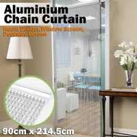 Voilamart Silver Aluminium Metal Chain Link Fly Pest Door Curtain Control Screen Blinds