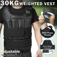 Voilamart 30KG Weighted Vest Crossfit Training MMA Gym Exercise Fitness Weight Adjustable