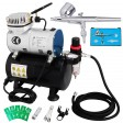 Voilamart Air Compressor Kit 0.3mm Needle Dual Action Airbrush Air Brush Stencil
