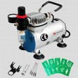 Voilamart Air Brush Compressor Kit Needle Dual Action Airbrush Stencil Make Up