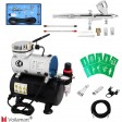 Voilamart 1/6HP Airbrush Compressor Kit Dual Action Air Brush Spray Gun 3 Needle