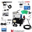 Voilamart 1/6 hp Compressor Airbrush Single-Action Dual Action Spray Gun Kit Air Brush Set